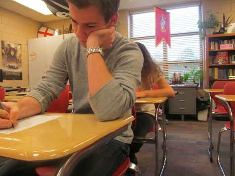 Seniors James Brennan and Alicia Tipcke are busy taking the MCA test. MCA test scores show the overall academic progress of the school and district.