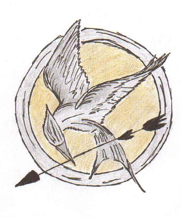 A graphic depicting the pin worn by lead character, Katniss Everdeen, in the Hunger Games series.