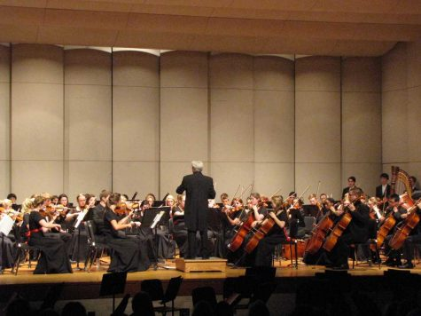 "On Nov. 12, Concert Orchestra performed in the concert organization's fall concert. Seniors Natalie Tri, Aidan Hybertson, junior Michaela Byland, and senior Jarden Allen play the violin. Featuring pieces included ""Orpheus in the Underworld"" by Offenbach and the final movement of ""The New World Symphony"" by Dvorak."