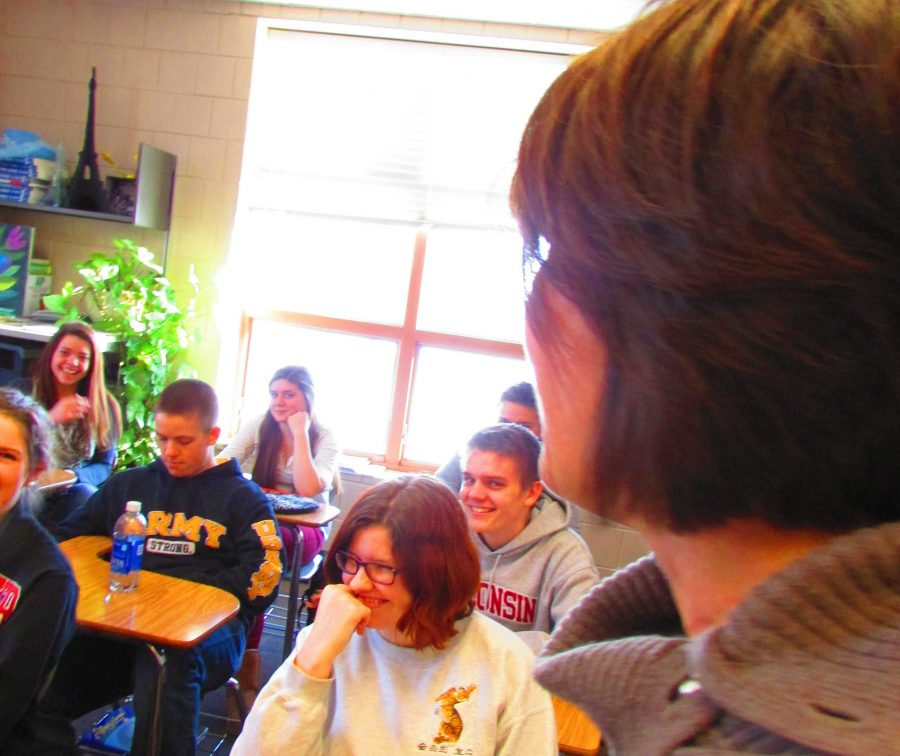 "Kasak-Saxler entertains her AP French class with her fun loving personality. """"I've had all kinds of fun stuff teaching, and going places. Those were sort of the icing on the cake for me. . . I feel really lucky,"" said Kasak- Saxler."
