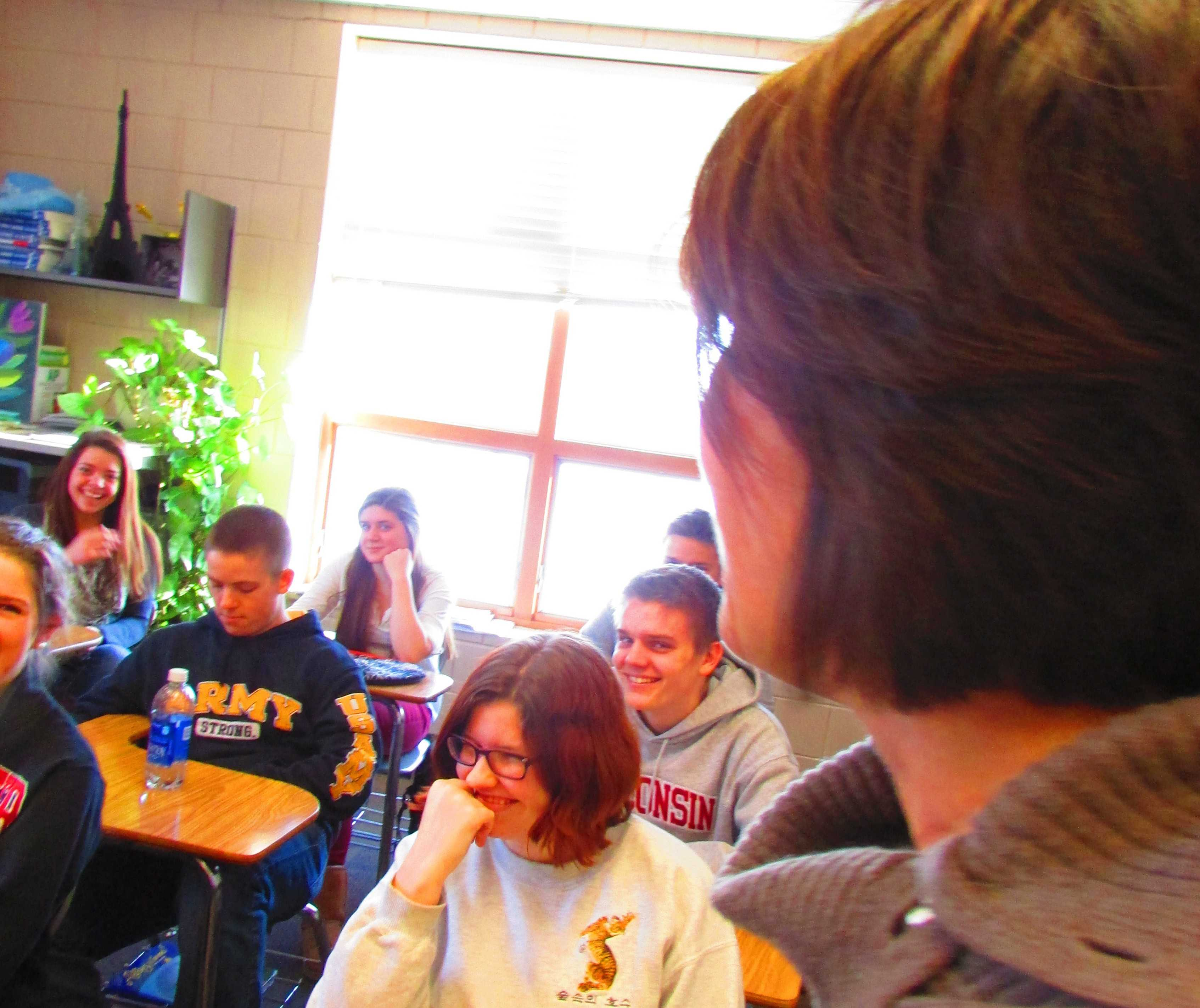 """Kasak-Saxler entertains her AP French class with her fun loving personality. """"""""I've had all kinds of fun stuff teaching, and going places. Those were sort of the icing on the cake for me. . . I feel really lucky,"""" said Kasak- Saxler."""
