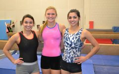 The gymnastics captians, seniors Thalia Anderson and Sidnee Ronsberg and junior Natalie Jantschek, are preparing to lead their team.