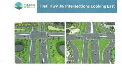 Bird's eye view of bridge and new Highway 36 road construction plans.