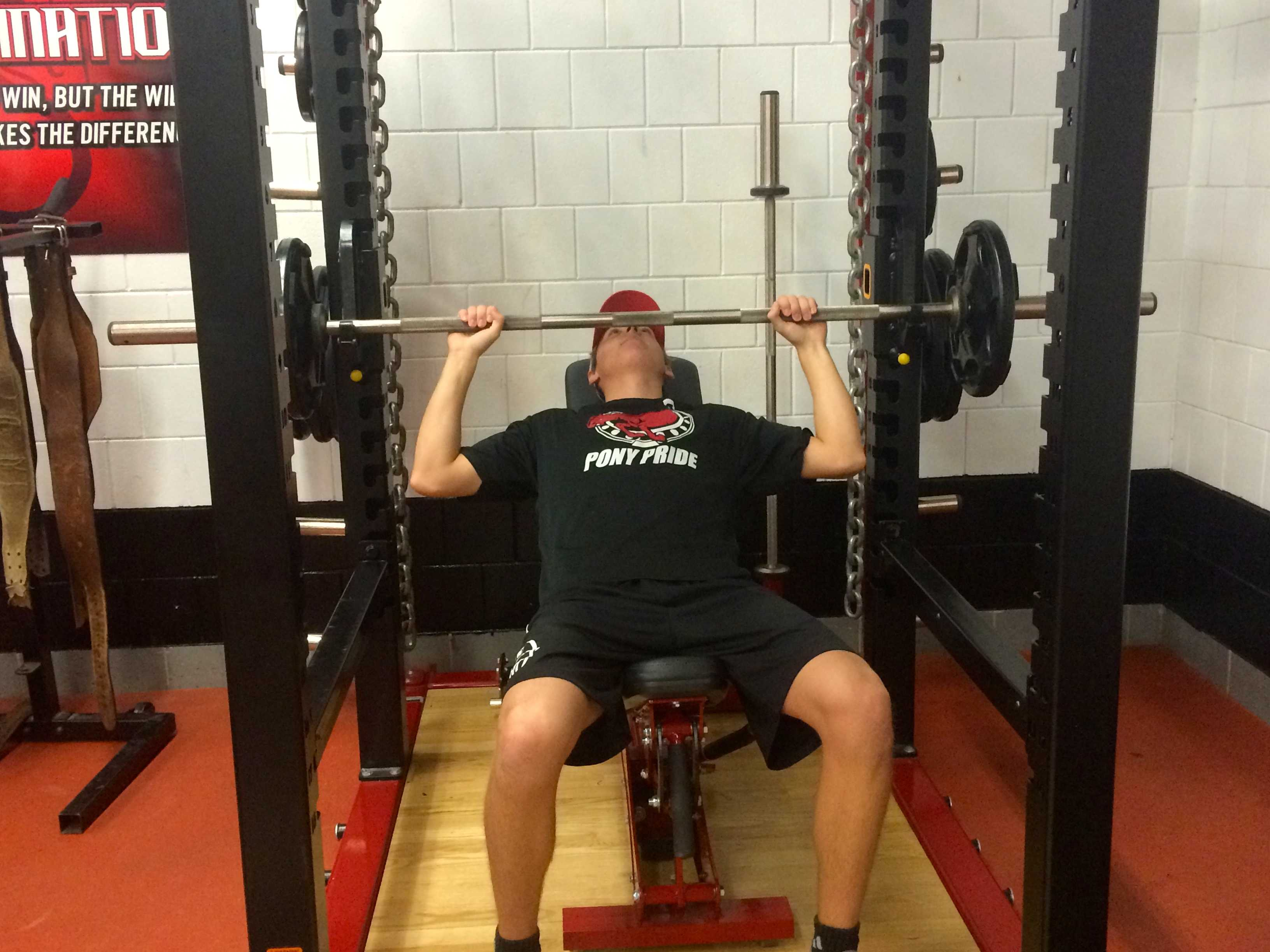 Seniors Eric Bromback and Mark Houle are improving their health in the weight room.