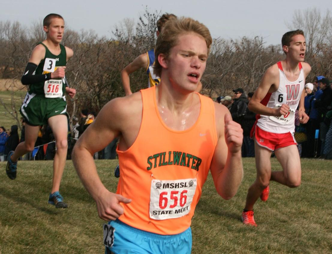 Senior John Huntley, one of the top  runners for Stillwater, pushes his hardest to finish strong in the Minnesota State Championships.