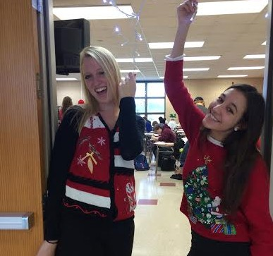 Photo by Stephanie Nielsen Sarah Ogren and Megan Friederichs model their ugly sweaters