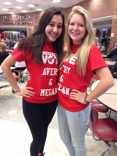 On+election+day+Juniors+Megan+Friederichs+and+Avery+Housley+ran+against+two+other+Juniors+Eve+and+Isabel%2C+both+sets+had+a+successful+campaigning+and+did+a+great+job.