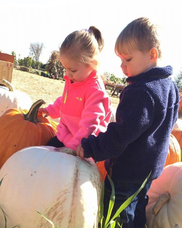 "Pumpkin Picking with Charlotte Gale (left) and David Gale (right)! ""Nothing is more fun than seeing all those happy faces,"" Scheel said."
