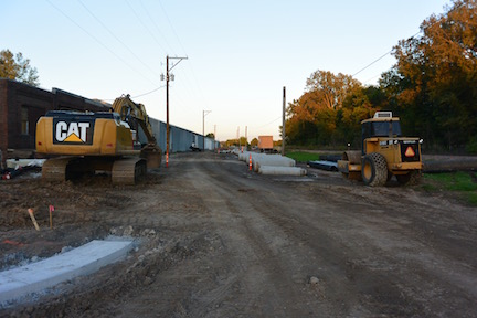 Pictured is construction off of Lake Elmo Avenue, where the roads are being completely reconstructed. Shown in the distance are septic pipes. Mayor Mike Pearson described the positive change in the septic system by saying,