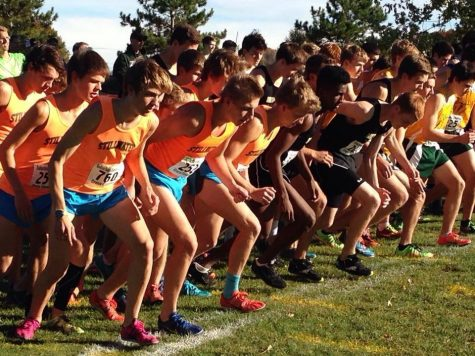 Boys Cross Country team lines up as they prepare for their race this August.