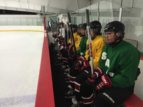 At practice on Nov. 20 at Lily Lake, the players wait to take the ice.