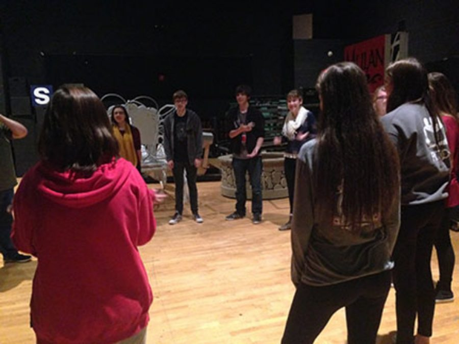 The improv actors/actresses during rehearsal. The improv show is December 15, and the group is incredibly excited to show off their comedic talents.