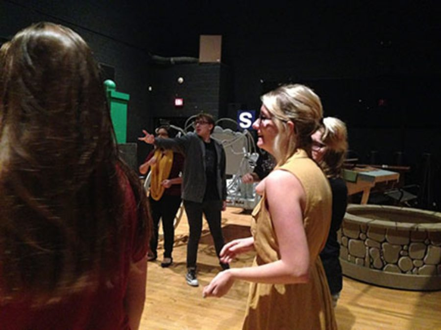 The actors/actresses during their improv rehearsal having fun during their warm ups. Junior Scarlett Bahma expresses her joy while in rehearsal. Bahma explained her excitement on the show saying,