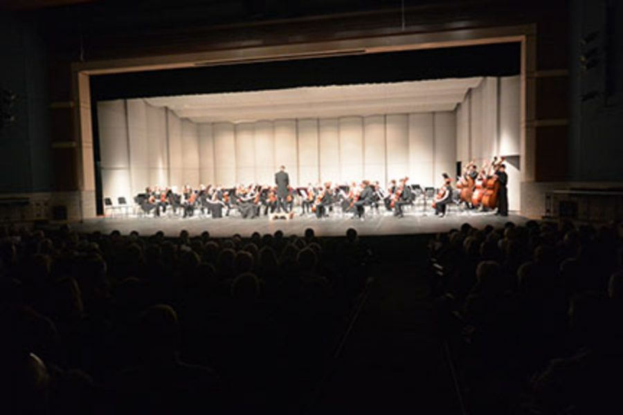 The orchestra concert on November 12, 2015 was an overall success for the players. Pictured is symphonic (generally 10th grade) orchestra. Junior Emmery Hartwig explained,