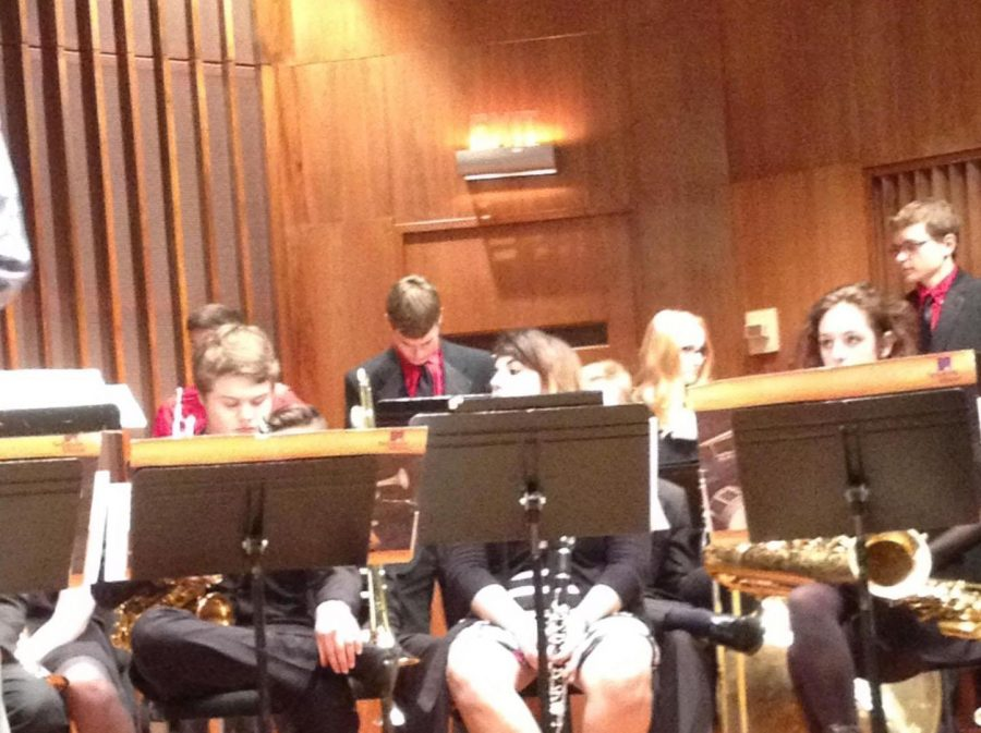 Jazz Band students get ready to play at their concert in Lawrence, Wisconsin.