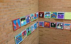 Students at Oak Park Elementary proudly display their artwork on the wall in the staircase of their school. Most of the art was made by 5th and 6th graders and some pieces may even be entered int he Da Vinci Fest this year. The kids at Oak Park take pride in their work which is an important quality in the worlds of art and science alike.