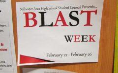 Blast week poster near the main office in the rotunda.