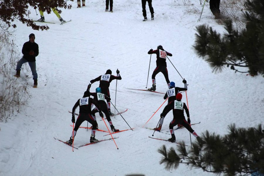 Five+Stillwater+skiers+and+one+Roseville+skier+power+up+a+hill+after+a+Forest+Lake+skier+at+Battle+Creek+during+their+Conference+race+on+January+26th.+%22I+feel+good+about+our+chances%2C+but+I+will+be+proud+of+our+team+and+our+accomplishments+this+season+regardless+of+the+outcome+at+the+state+meet%2C%22+coach+Torry+Kraftson+says.+