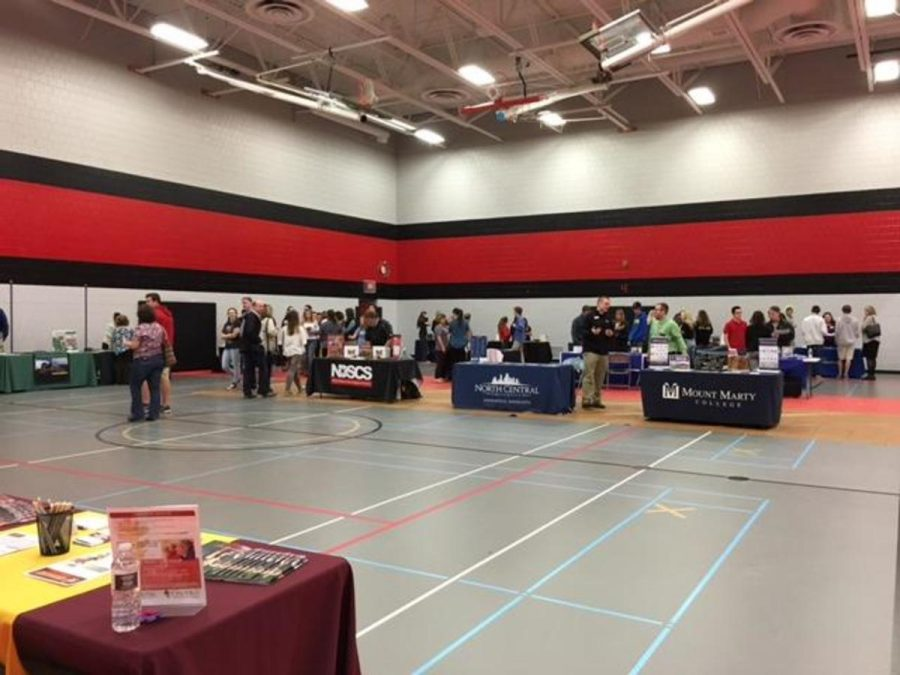 """The college fair had dozens of booths scattered around the gym, each contained a different school, and with different opportunities. Each booth had one representative of a college, who was willing to provide pamphlets and verbal information about the school they were representing. Every booth has a new perspective with completely new things to learn, making each booth unique. The uniqueness of the different schools allows for students to learn a lot about what they may want to do after high school.   Junior Mason Bartosh says, """"I think that it will help get some basic information on each of the schools. It will give you a good idea about size, and possible strengths that a college has. You will also be able to compare multiple schools and figure out what schools sound best for you."""""""