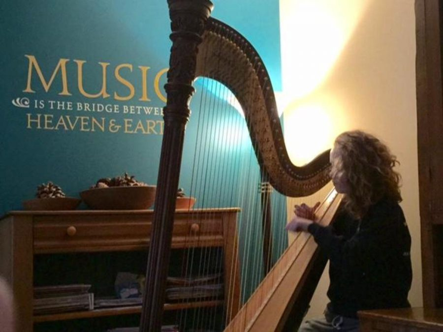"""Brooke Knoll will be playing Claude Debussy's Sacred and Profane dances on her harp, which she has been playing since she was six years old. """"The Debussy dances were actually introduced to me by my cello teacher four years ago. I have loved them ever since,"""" Knoll says."""