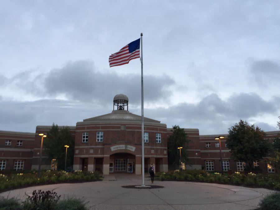 Flag hangs outside of Stillwater Area High School.
