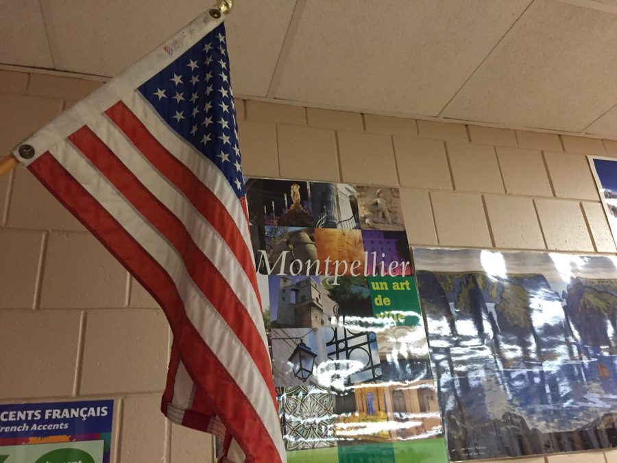 Flag hangs even in Madame Dogherty's French room