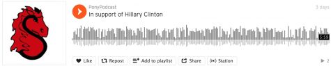 Podcast: https://soundcloud.com/ponypodcast/in-support-of-hillary-clinton