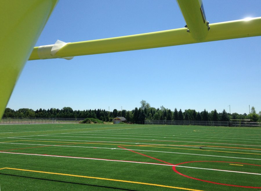 Picture of two the practice fields behind the school. This will allow players to play no matter the weather with no cancellations. Michael said,