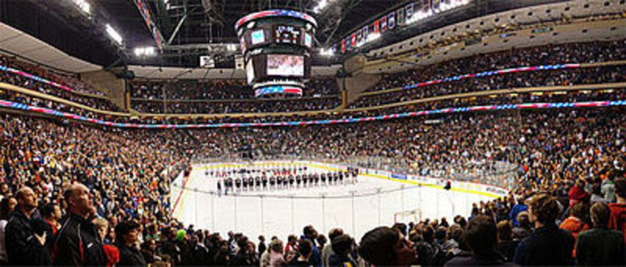 """Photo by Jack Reinseth- This is a picture of the state hockey tournament. Manning says, """"There's definitely unfinished business from last year, having lost our second and third games in the tourney. We expected a lot more last year, but all the more reason to work harder to make sure that doesn't happen again."""""""