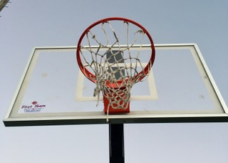 Photo by Bella Anderson- A close up shot of a basketball hoop where many students have played pickup games. During the recovery Lucas says,
