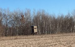 "A box stand on the edge of a field in Northern Minnesota, ready for deer hunting. Zach Cowley says, ""A box stand is a lot more comfortable than being 10 feet in a tree in the open."""