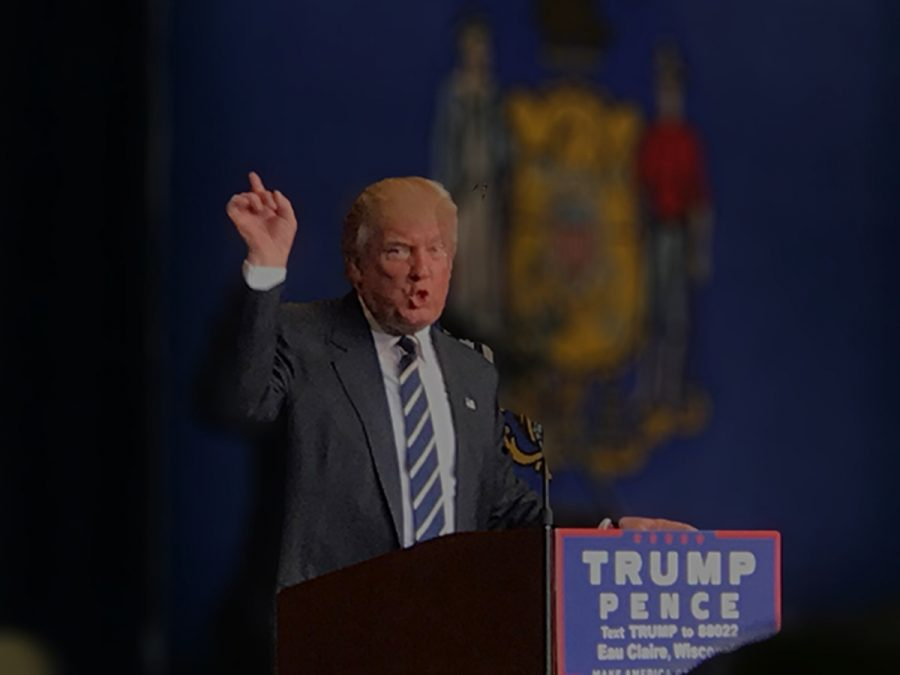 While giving another one of his infamous speeches, Trump moved his hands in his usual leader-like manner. Suddenly the crowd erupts into chants of,