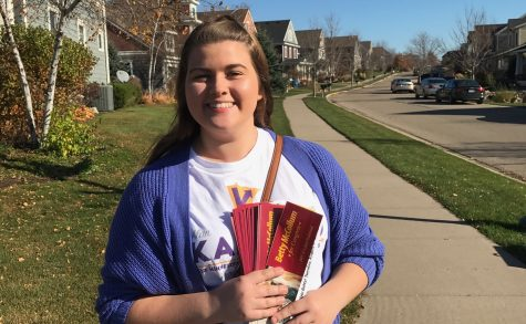 Cat Clements supporting Alan Kantrud as she goes door knocking in Stillwater on a Sunday afternoon.