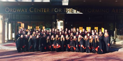 SAHS choir in front of the Ordway to record two songs for the NPR radio station on Sunday December 4th. Photos courtesy of Angela Mitchell.