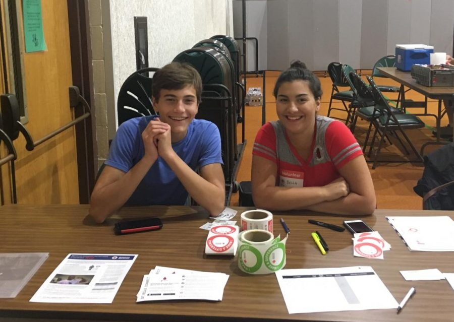 NHS officers Grant Auleciems and Bella Portelli at the summer blood drive.