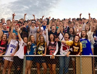 The Ponies student fans going wild at the jersey themed football game at Roseville on September 14.