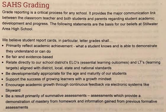 The schools strong beliefs for a strong academic grading system.