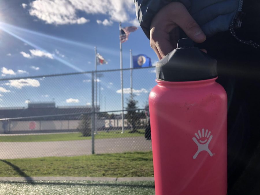 Runner Elizabeth Campbell, brings Hydro Flask to cross country practice with cold water beverage, to feel refreshed after her run.