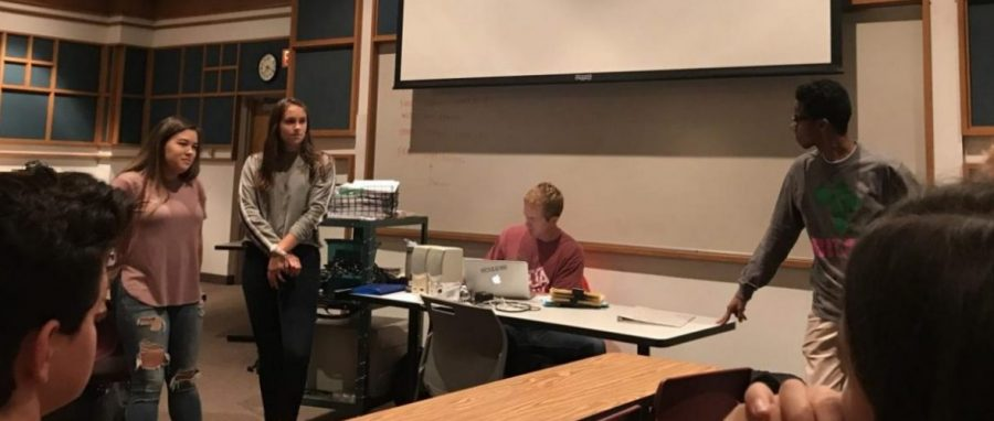 BIZAA club has a meeting in the main forum at 7:10 a.m. every other Monday. Co-presidents Kate Pelletier, Maria Vincent and Abdul Mohamed talk about what had been going on in the past week.