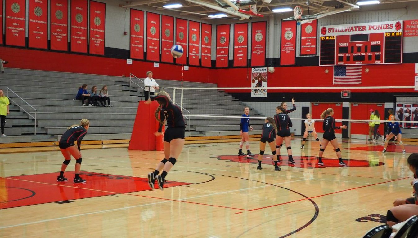 Senior Kate Raddatz serves the ball to Spring Lake Park in the first set. Stillwater went on to win 3-0 to move on to play Centennial Oct. 29 at 7 p.m.