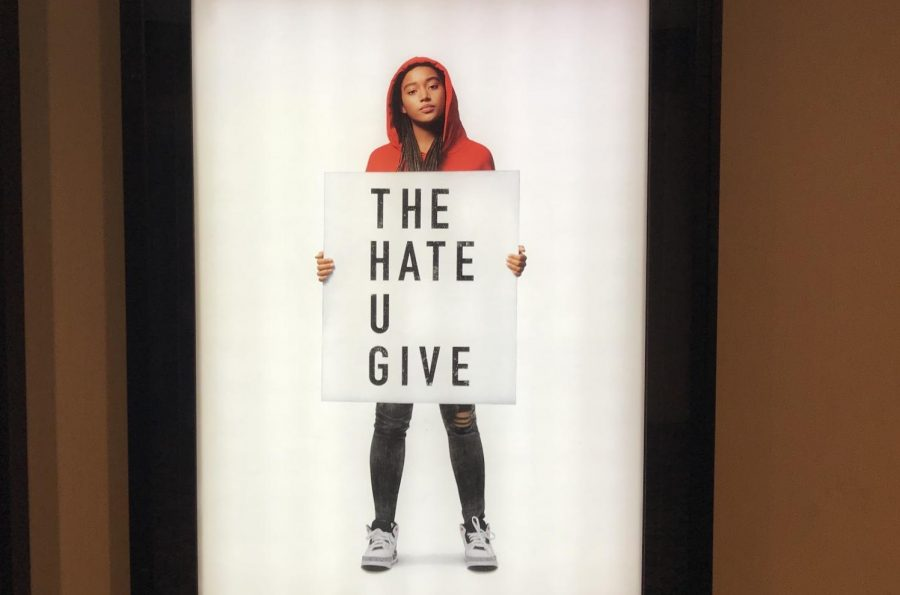 Amandla Stenberg on the billboard for The Hate U Give at the Marcus theater in Oakdale in the fall, used for advertisement.