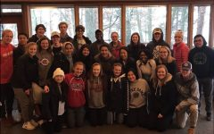 The Peer Helpers gather at Camp Icaghowan on Lake Hiawatha, where the retreat was held during the weekend of Nov. 2. They participated in team building activities and learned tools to be effective in their new roles.