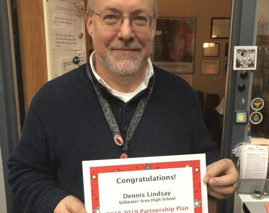 Music teacher Dennis Lindsay received an award for a Partnership grant this year.