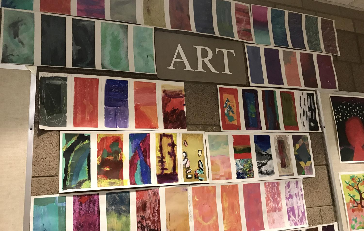 These are examples art hung up in the art wing of SAHS. These were created, by students in art teacher Peter Koltuns painting class earlier this month.