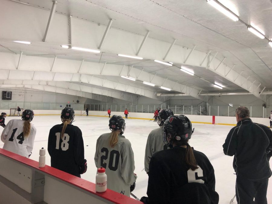 Varsity+girls+team+practices+at+the+Lily+Lake+arena+on+Nov.+14+as+they+prepare+for+their+game+against+Forest+Lake.