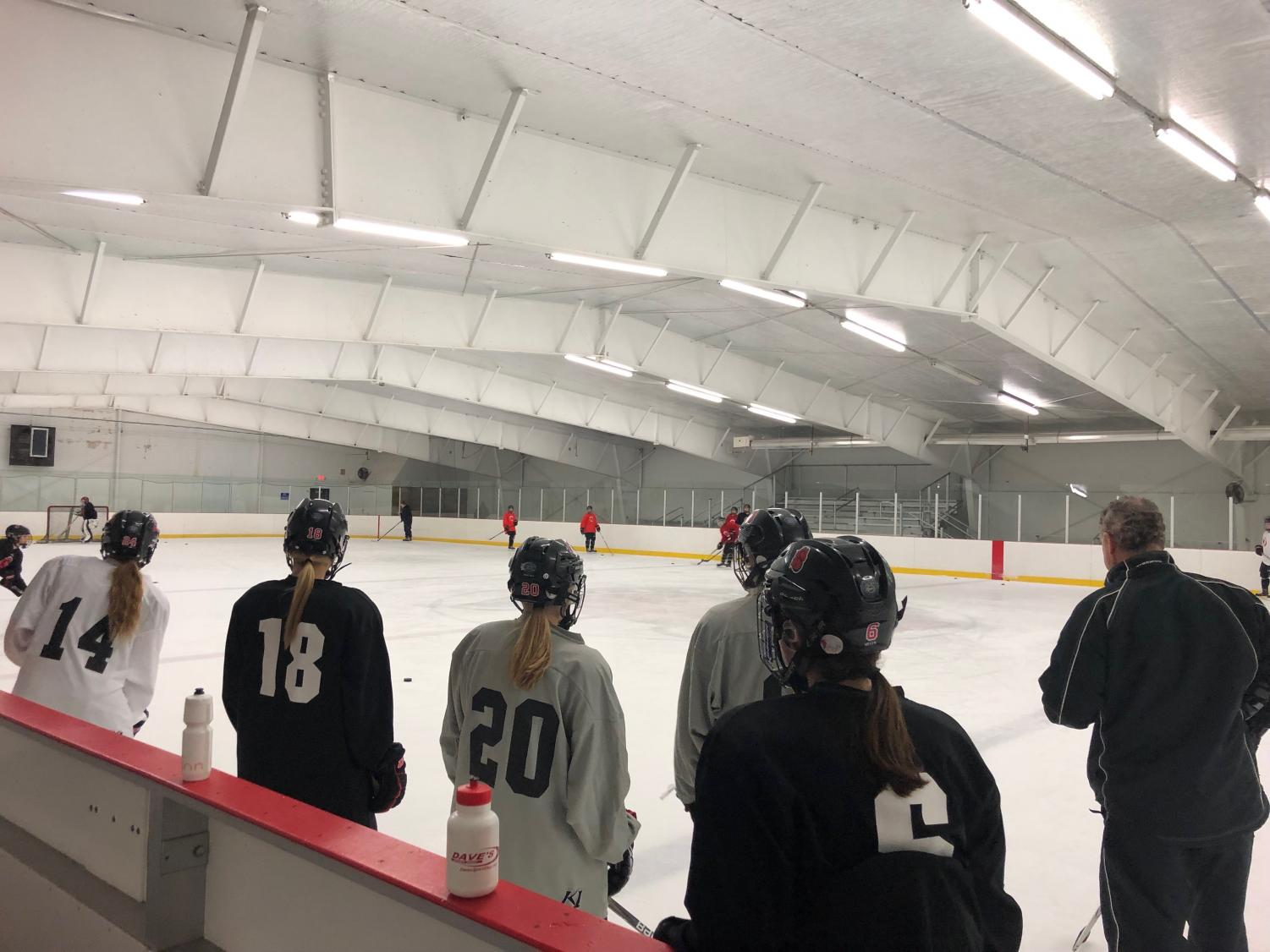 Varsity girls team practices at the Lily Lake arena on Nov. 14 as they prepare for their game against Forest Lake.