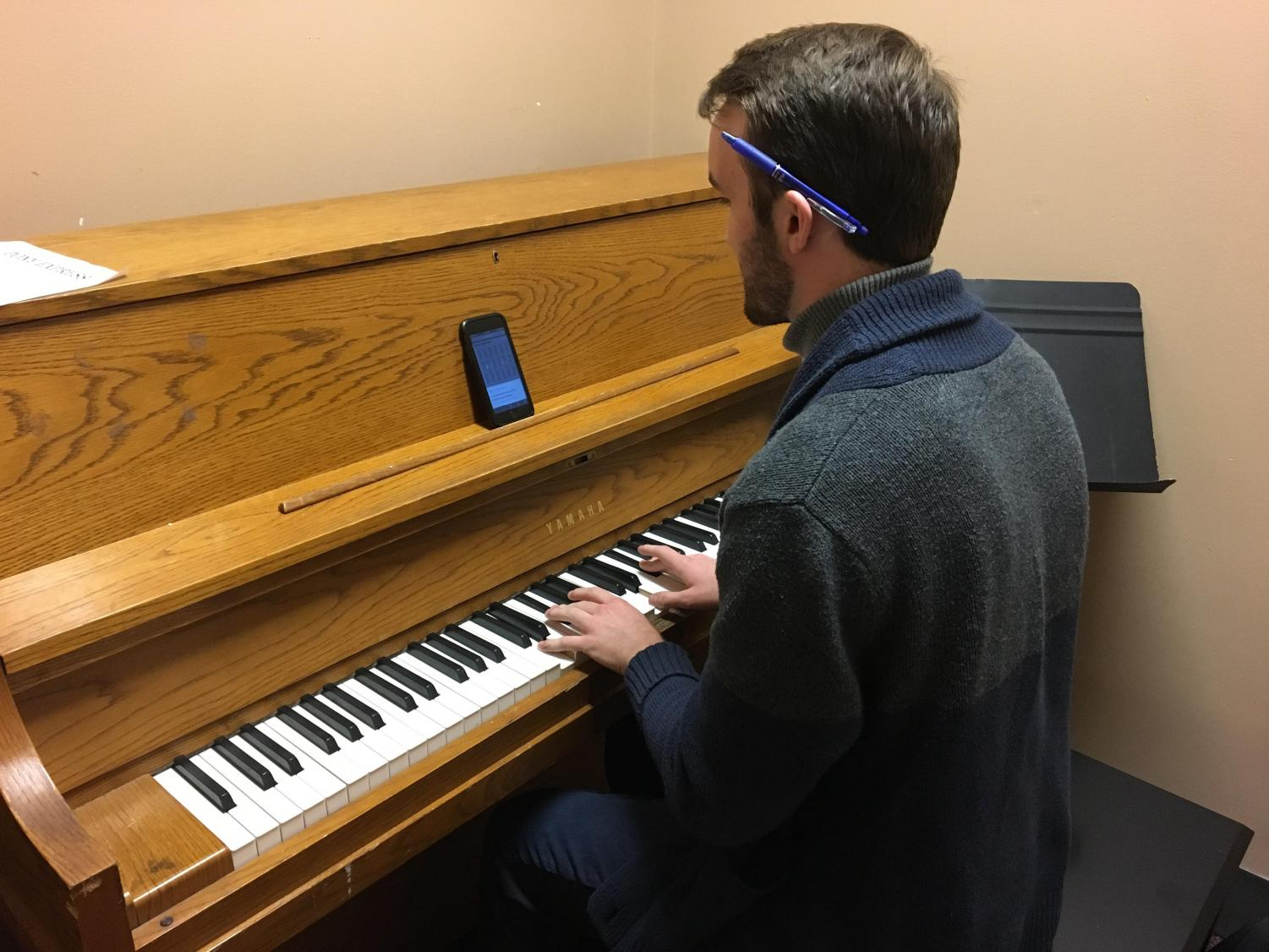 Senior Ben Valerius rehearses in preparation for his Coffeehouse audition. He plans on auditioning with