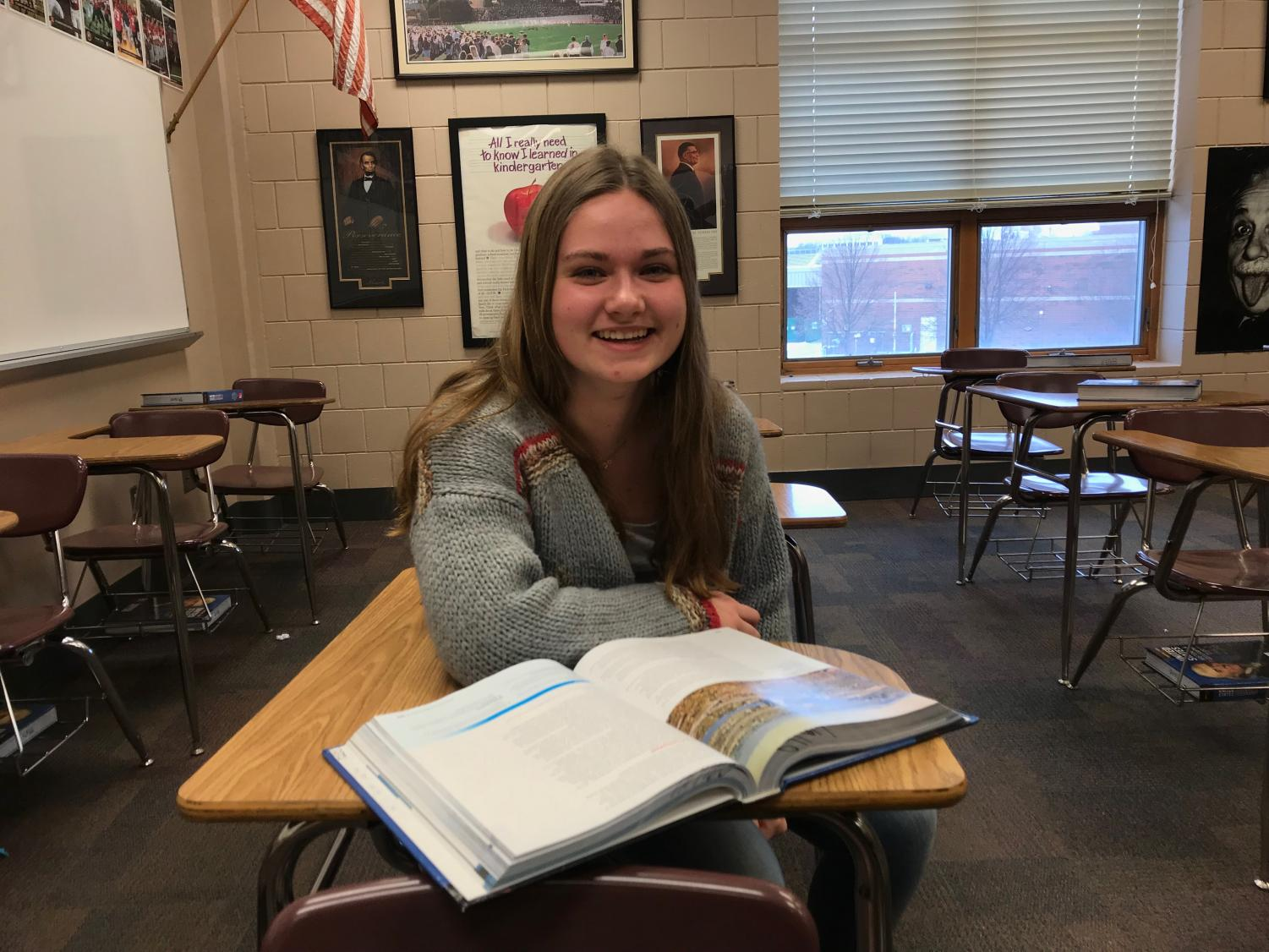 Senior Laura Kern studies in her favorite class, history. Kern enjoys history and helps her learn more about the American culture.