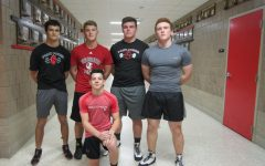 The wrestling team is led by their 5 captains. Javon Taschuk, Trey Kruse, Josh Piechowski, Will Gleason, and Colin McCarthy.