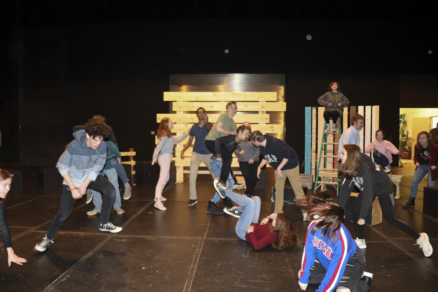One+Act+cast+practice+for+%22Animal+Farm%22.+Cast+practice+on+a+set+that+is+easily+movable+due+to+the+fast+paced+show.+